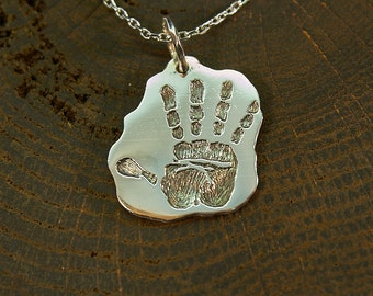 Silver Handprint Necklace, Handprint Jewelry, Hand Pendant, Arm Pendant, Palm, Trail, Palmistry Hand, Rock-Painting