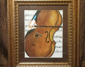 Original acrylic painting on classical sheet music, cello, free shipping