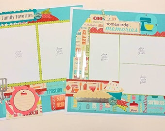 """2-Page 12x12 Premade Kitchen Scrapbook Layout - """"Family Favorites"""""""