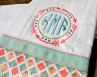 Tribal Monogrammed Burp Cloth