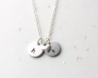 Personalized heart necklace, valentine's gift, initial necklace, gift for her, girlfriend gift, valentine gift, first anniversary