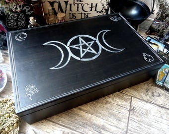 Altar box Moon Magic, pentagram, pentacles, black