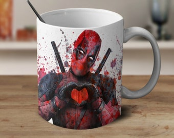 Deadpool Coffee Mug, Deadpool Mug, Deadpool Watercolor, Magic Coffee Mug, Color Changing Mug, Ironman