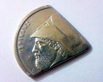 Guitar coin pick - 20 Drachmai greek coin pick - metal plectrum - handmade