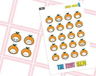 Emoji Orange The Fruit Gang planner sticker stickers,emotion of the day sticker, cute planner accessories, functional planner stickers