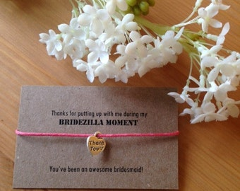 Thank you bracelet for bridesmaid