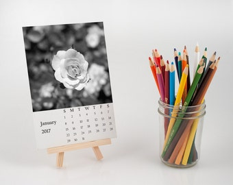 black and white desk calendar, nature photography calendar with easel, photo print, nature photography gift, botanical calendar