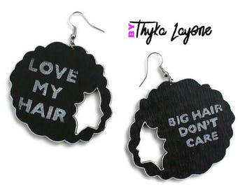 African earrings - Love my hair earrings - earrings Nappy Afro