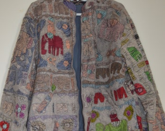 Code FOREVER15: 15% + reduced SHIPPING! Rare animals Patchwork jacket!                                 Small-Medium *.