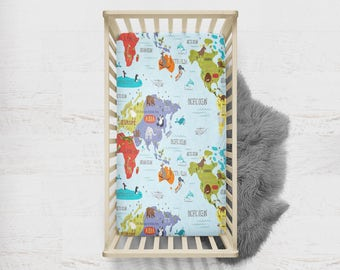Travel nursery decor nursery world map nursery travel map of for World crib bedding