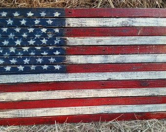 Pallet American Flag,  Pallet Flag, Rustic American Flag, American Flag Wall Art, Distressed American Flag, Home Decor, Rustic wood flag