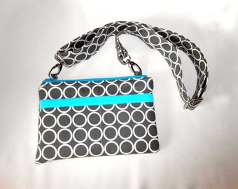 iPhone/camera wallet.  Grey and teal gadget pouch.  iPhone zipper wallet,pouch.  point and shout camera bag.  makeup pouch