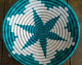 Woven Basket // Rwandan Basket // African Basket // Fruit Bowl // Aqua