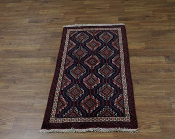 Nice Foyer Size Handmade Tribal Balouch Persian Rug Oriental Area Carpet 3X6