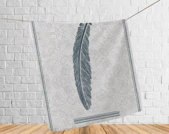 Soft fleece blanket, Feather artwork throw, Cozy Blanket, Gift for her, Beach blanket, Anniversary gift, Outdoor blanket, Yoga blanket