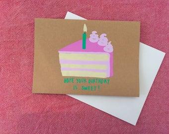 Cake Slice (Pink), Birthday Card