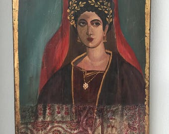Original painting Portrait of Fayum vintage painting inspired by ancient roman icons found in Egypt