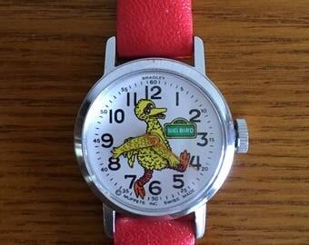 Vintage Bradley Big Bird Watch- 1970's Sesame Street Manual Wind Up Watch- Muppets, Inc. Swiss Movement Wrist Watch