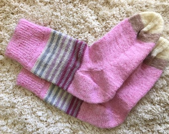 Hand Knitted Women Socks (Angora 50%) Size 7-9 US