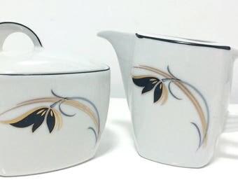 Vintage Winterling creamer & sugar bowl with lid, Schwarzenbach, W. Germany, Bavaria, floral, gild, art deco influence,