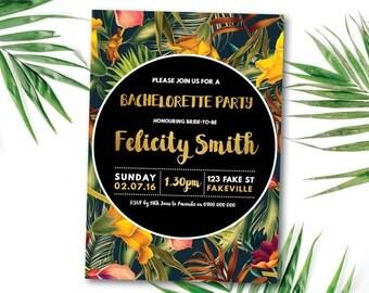 Tropical bachelorette invitation, tropical hens invitation, Hawaiian, bachelorette, hens, tropical, beach, summer, black, gold (Felicity)