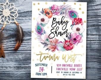 Boho baby shower invitation, baby shower invitation, tribal, baby shower invite, feathers, flowers, gold, purple, pink, anemone (Tamara)