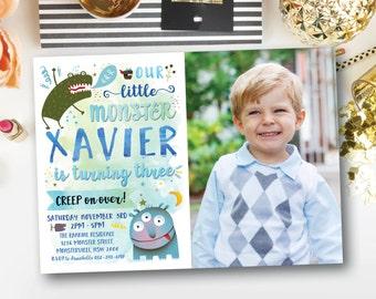 Little monster photo invitation, our little monster, boy birthday invitation, monster birthday invitation, boy birthday invite, blue (Xavier
