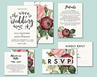 Floral wedding invitation suite, peony, vintage, victorian, botanical, pink rose peony, printable, burgundy, DIY, wedding suite (Millicent)