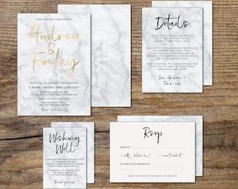 Foiled Marble wedding invitation suite, grey and white marble wedding invitation suite, script, foil, gold, rose gold, silver, blue (Marble)