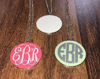 Monogram Pendant Necklace, Long Monogram Necklace, Personalized Necklace, Initial Necklace, Monogram Jewelry, Personalized Jewelry