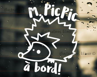 Sticker M.PIC PIC-Sticker MME.Pic Pic-baby on board-hedgehog-windshield car-colors custom