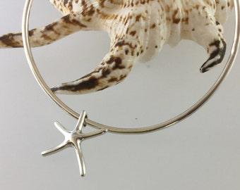 Starfish/starfish bangle/Sterling silver bangle/sea/ocean/charm/bangle/bracelet/silver/sterling/