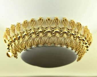 1950s Emmons Wide Filigree Bracelet - Formal Estate Jewelry - Mid Century Mod Emmons Jewelry, Mad Men Era, Delicate Gold Statement Bracelet