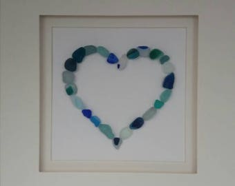 Seaham Seaglass Blue Green and Clear Miniatures Loveheart Picture. Seaham Seaglass Art
