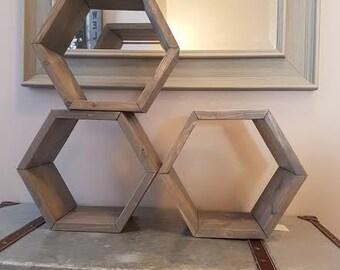 Hexagon Shelves, Wooden Floating Shelf, Wall Shelves, Honey Comb Shelf, Wood Shelves, Wood Decor, Hexagon Decor, Wooden Shelves, Shelves