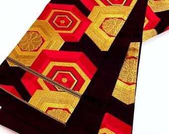 """k060 Unique """"Kikko"""" Obi Kimono Belt Fukuroobi Antique"""