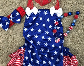 Girls Fourth of July outfit, girls 4th of july romper, baby girl romper, girls 4th of july birthday, 4th of july cake smash outfit, pageant