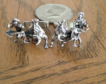 Silver Spanish Bull Fighter Cuff Links