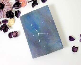 Constellation zodiac journal hand painted zodiac notebook cover, birth sign journal, astrology notebook, galaxy stars journal, birthday gift