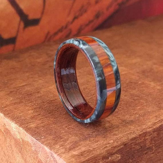 Cocobolo Wood Ring - Mens Wooden Ring  Wooden Wedding Band  Engagement Ring  Anniversary Gifts for Men  Wood Jewelry
