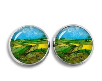 Van Gogh Stud Earrings Wheat fields after rain Earrings Van Gogh painting Earrings Art Jewelry