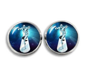 Silver Surfer Stud Earrings Silver Surfer earrings Comics Fandom Jewelry Cosplay Fangirl Fanboy