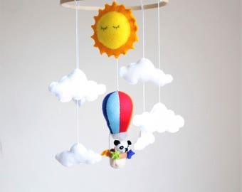 Summer Panda Baby Bear Mobile Hanger - Felt Hot Air Balloon Mobile - Nursery Decor - Hot Air Balloon Baby Mobile