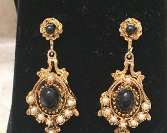 Vintage Art Deco Brass and Faux Onyx and Pearle Chandelier Earrings - converted from clip-on to pierced