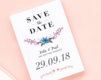 Glorious Garland Save the Date/Wedding Announcement Cards