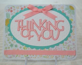 Handmade Thinking of You Card - Encouragement Card - Friendship Card - Sympathy Card - Embossed Cricut Card - Blank Inside