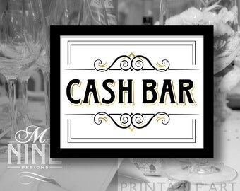 vintage party printable sign cash bar party signs printable party download wedding
