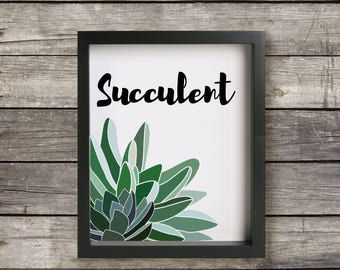 Succulent, Art Print, Digital Download, Wall Art, Quote, Printable, Instant Download, 8 X 10, Minimalist, Modern, Typography