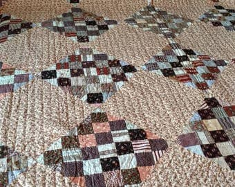 Patch On Point - Brown tones on a Circa 1870s Quilt that serious quilt collectors will appreciate! Very thin, beautiful stitching, unwashed!