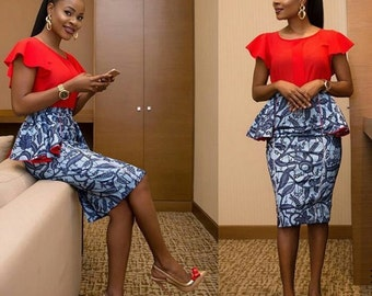 Ankara Knee Length Skirt with Side Peplum